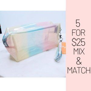 Handbags - 5 for $25 Holographic Pastel Color Striped Pouch